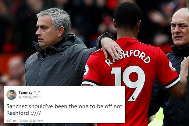 Marcus Rashford subbed off for Marouane Fellaini… but Man United fans fuming it wasn't Alexis Sanchez replaced