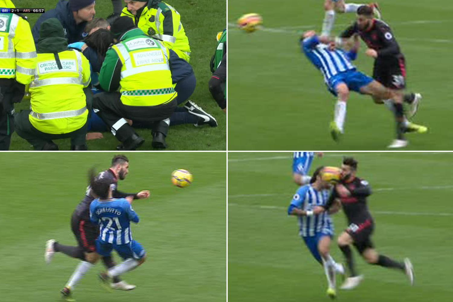 Arsenal star Sead Kolasinac smashes Brighton's Ezequiel Schelotto with brutal body blow but somehow avoids red card