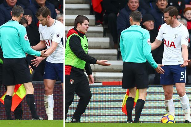 Bournemouth vs Tottenham: Jan Vertonghen gets in row with ball boy, who is later spoken to by a steward