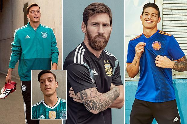 Lionel Messi, Mesut Ozil and James Rodriguez launch retro Argentina, Germany and Colombia kits ahead of World Cup