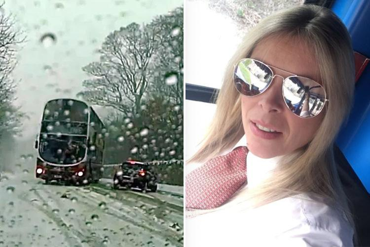 First pic of heroine bus driver who swerved round car on snow-bound road