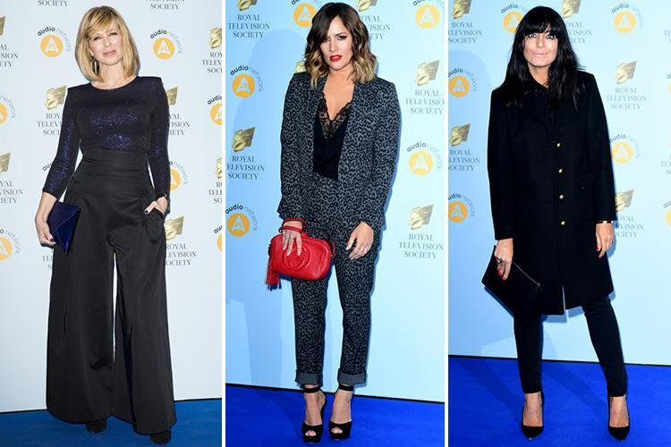 Caroline Flack glams up in lacy top and leopard print suit as Claudia Winkleman sticks to her signature black at RTS Awards