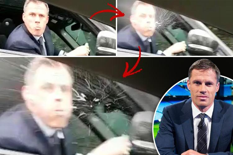 Footie pundit and ex-Liverpool ace Jamie Carragher filmed spitting in a 14-year-old girl's face