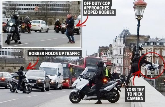 Moment moped gang stop London traffic and use angle grinder to nick £200k BBC camera set up to record Boat Race in broad daylight
