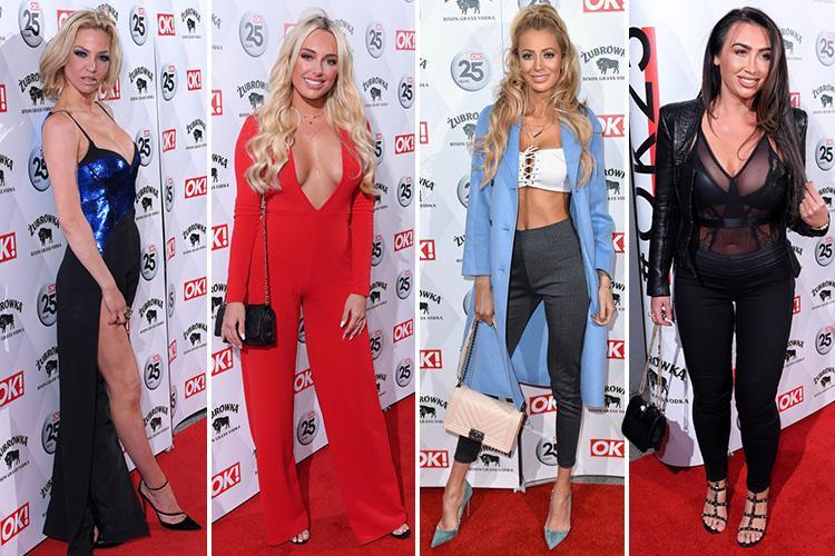 Olivia Attwood, Sarah Harding and Amber Turner glam up in plunging outfits as they arrive at star-studded OK! party