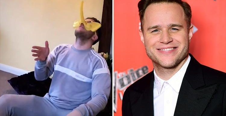 Olly Murs shows off his trunk during funny elephant game while wearing tight trousers