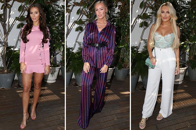 Towie's Yazmin Oukhellou glams up in a tiny pink skirt as she joins Chloe Meadows and Amber Turner for more filming in Barcelona