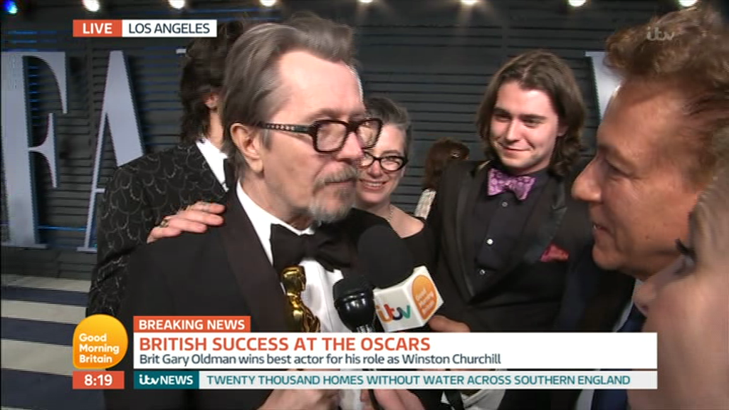Good Morning Britain viewers cringe as Ross King struggles to get Gary Oldman Oscars interview – and is then hijacked by another reporter on live TV