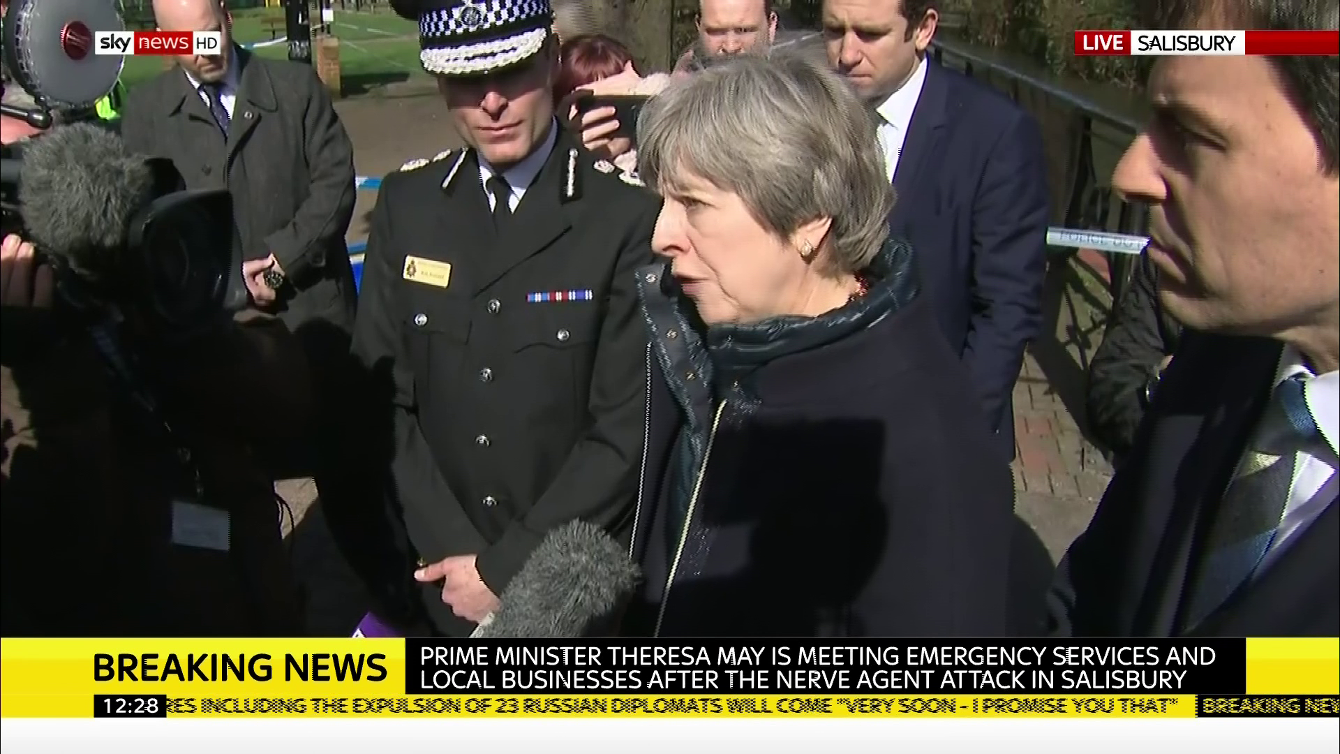 Theresa May arrives in Salisbury in aftermath of poison attack as Russia vows to kick out British diplomats in revenge for spy crackdown