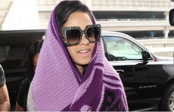 Only Cardi B Can Get Away With Wearing a Giant Blanket With Her Face on It, OKURRR!