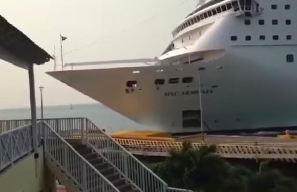 Cruise ship fails to stop and destroys dock