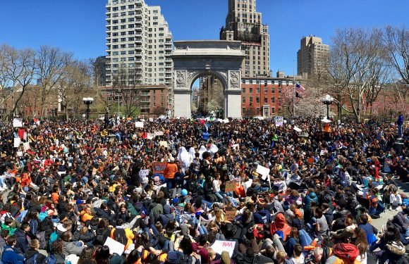 NYC students join walkouts on anniversary of Columbine