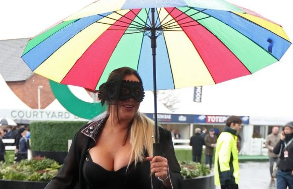 Lisa Appleton wears eye-popping Gothic gown and black mask at Aintree Races