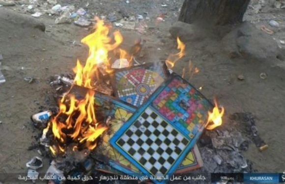 ISIS fanatics in Afghanistan burn children's GAMES because warped jihadis claim they're anti-Islamic