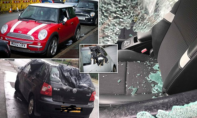 Neighbours wake to find rampaging vandals have trashed 15 vehicles