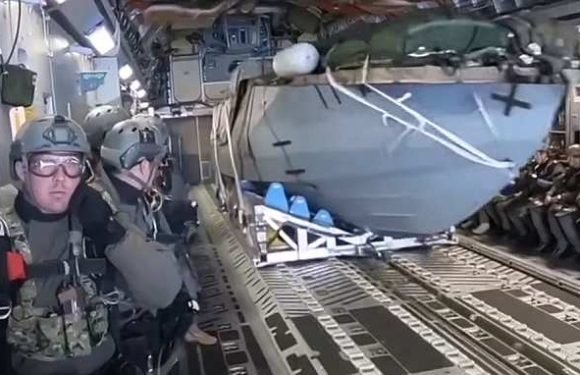 Video shows US Marines parachuting top secret boat into the water