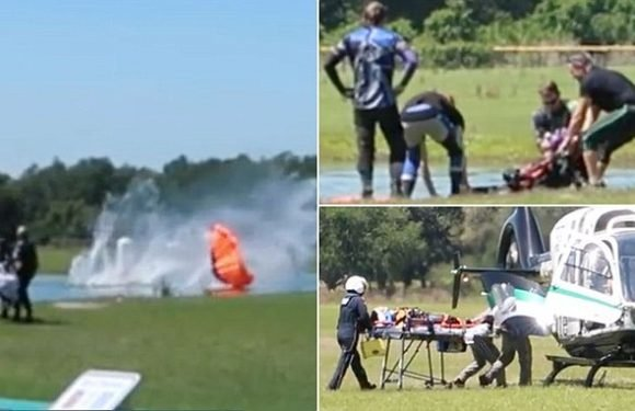 Terrifying moment female skydiver is critically injured after accident
