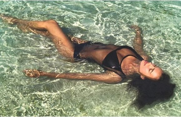 Irina Shayk's Mesh Swimsuit Is So Hot, Hot, Hot, It's No Wonder She's in the Water