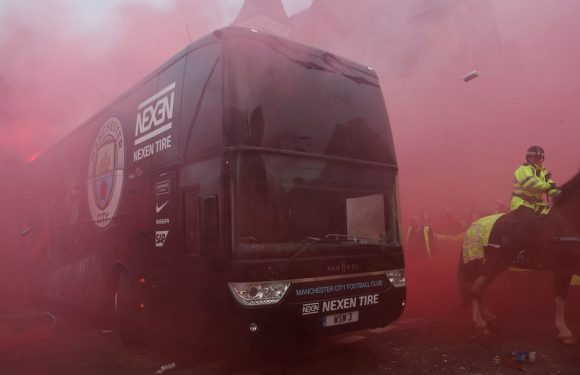 Manchester City team bus pelted with flares and bottles upon arrival at Anfield