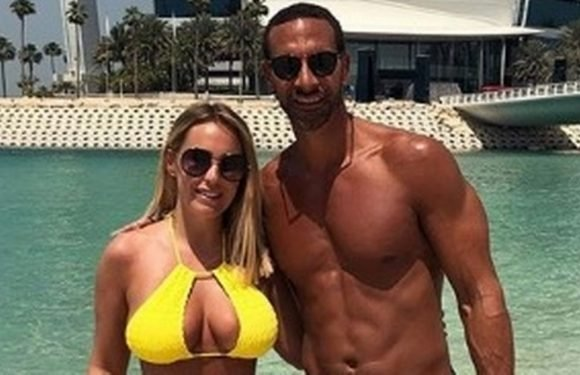 Kate Wright flaunts major cleavage as she holidays with Rio Ferdinand
