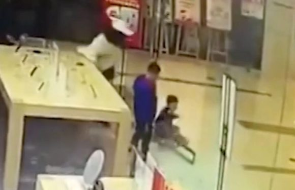'Apple Store' glass door explodes over child left needing stitches across face