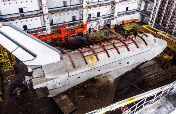 Eerie images show pair of abandoned space shuttles at Sputnik launch site