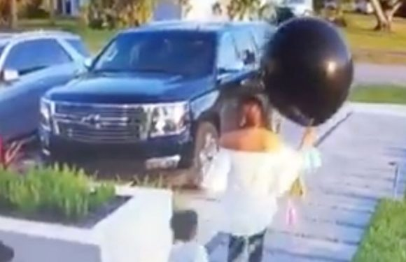 Naughty son pops pregnant mum's 'gender reveal' balloon spoiling surprise party