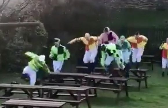Race winner and friends dress as jockeys to hold human Grand National at the pub