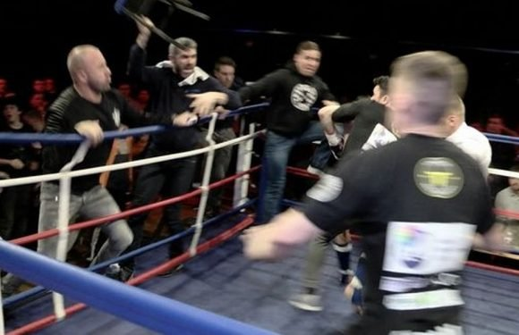 Six men jailed for sickening mass brawl in ring as chairs and bottles thrown
