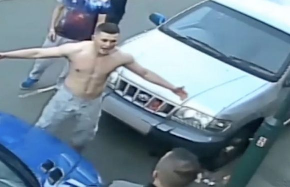 Thug rips off top after 'losing control' in brawl outside kebab shop