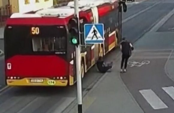 Teen's head misses bus by inches after friend's prank almost goes horribly wrong