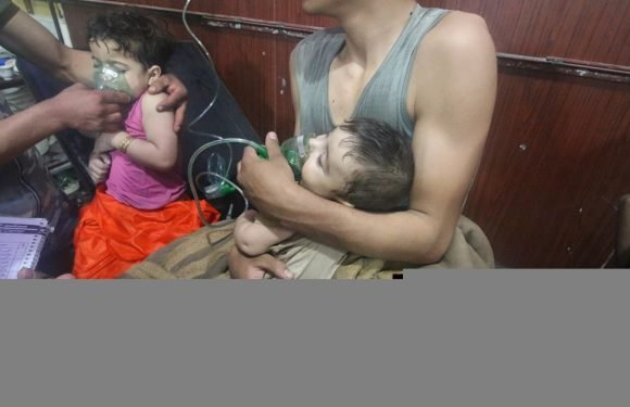 Babies foam at the mouth and gasp for breath after 'chemical' attack in Syria