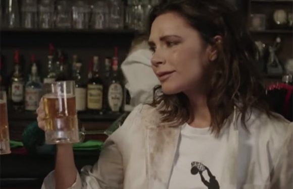 WATCH Victoria Beckham get dirty and drink a pint in James Corden spoof