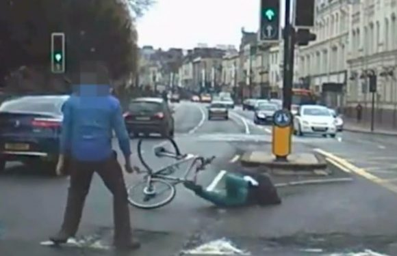 Knifeman tackled off getaway bike by pedestrians in dramatic city centre pursuit