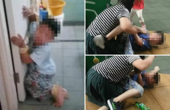 Vile mum arrested after shocking footage of her tying up and beating her young kids goes viral
