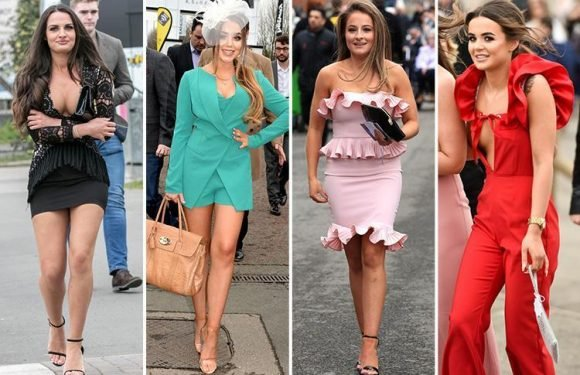 Glam Aintree racegoers confirm spring has FINALLY sprung as they ditch the tights and flash the flesh in bright mini dresses and playsuits