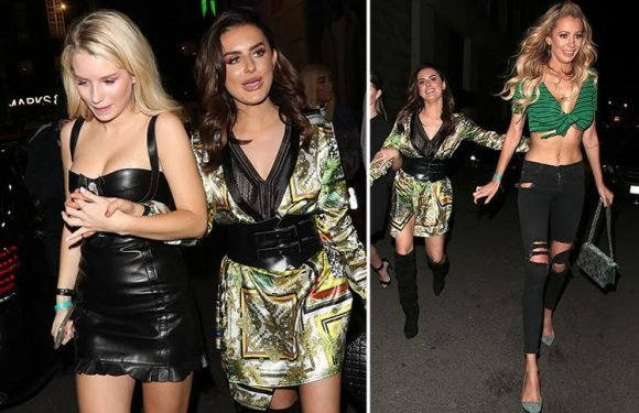 Amber Davies appears unsteady on her feet as she leaves star-studded Boohoo party alongside Lottie Moss and Olivia Attwood