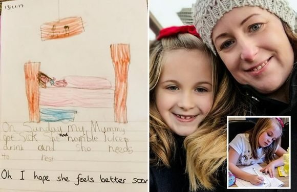 Girl, 7, draws hilarious picture of her mum lying hungover in bed for school project
