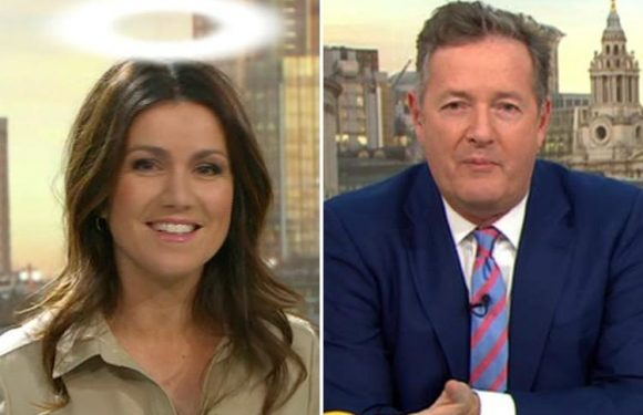 Piers Morgan in disbelief as Susanna Reid is given a halo on Good Morning Britain and 'becomes a Saint'