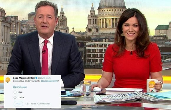 Good Morning Britain's Susanna Reid accuses Piers Morgan of 'dragging her to hell' after he launches a public 'love or loathe' poll