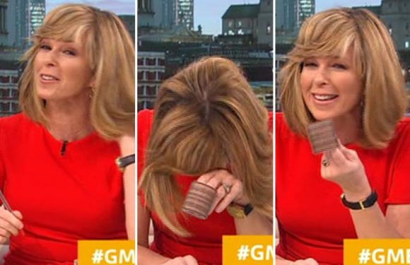 Kate Garraway left mortified as she presents Good Morning Britain with a roller still in her hair