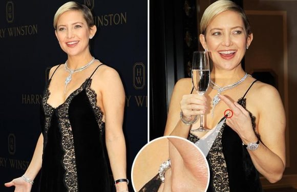Pregnant Kate Hudson sparks rumours she's engaged to Danny Fujikawa as she wears a diamond ring on left hand