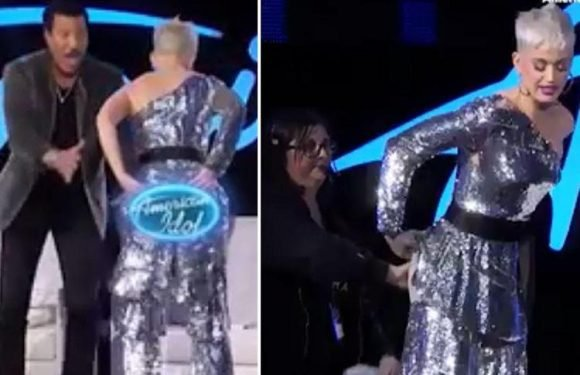 Katy Perry left red-faced as she accidentally flashes her bum on American Idol after splitting her trousers