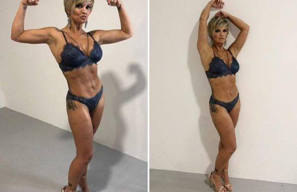 Kerry Katona shows off rippling abs and deep tan in lingerie and heels