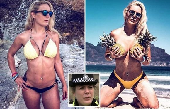 Police's £45k-a-year 'poster girl' on seven months leave for stress posts series of raunchy holiday snaps… including one where she hides modesty with pair pineapples