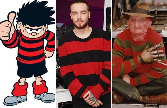 Liam Payne looks like Dennis The Menace and Freddy Krueger as he gets back to work in London in a striped jumper