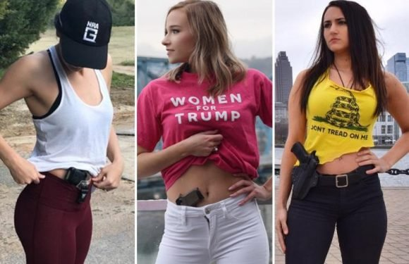 Women post gun-toting pics in support of Trump fan who sparked backlash for showing handgun in her trousers