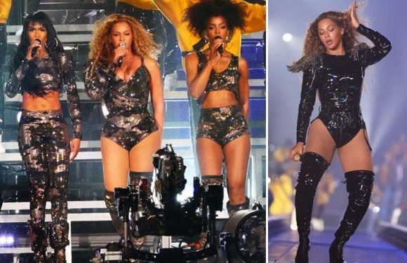 Beyonce takes to the stage in Egyptian themed embellished corset and cape as she performs at Coachella