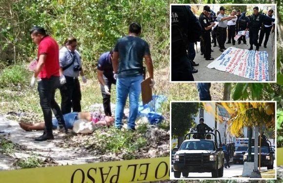 Cancun murder victim's body found dumped in street with chilling message and mutilated face just yards from tourists