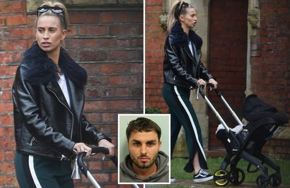 Ferne McCann looks deep in thought as she takes baby Sunday for a walk, nearly a year after ex-boyfriend Arthur Collins' Easter Sunday acid attack
